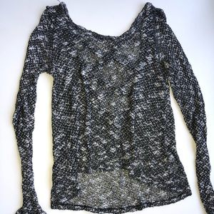 small black and white long-sleeved top